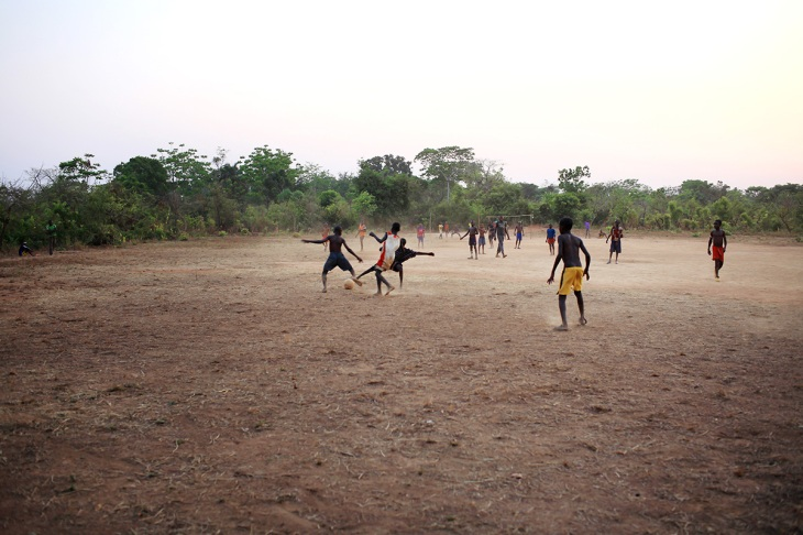 [football at the field behind our house]